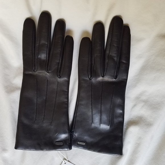 Coach Leather and Wool Gloves